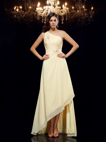 A-Line/Princess One-Shoulder Sleeveless Asymmetrical Beading Chiffon Dresses