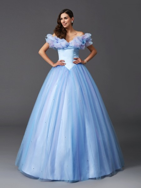 Ball Gown Off-the-Shoulder Sleeveless Floor-Length Beading Net Dresses