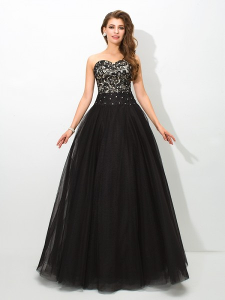 Ball Gown Sweetheart Sleeveless Floor-Length Lace Net Dresses