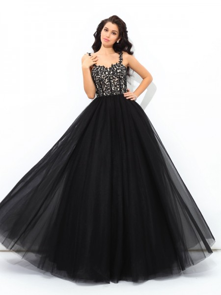 Ball Gown Sleeveless Straps Floor-Length Applique Net Dresses