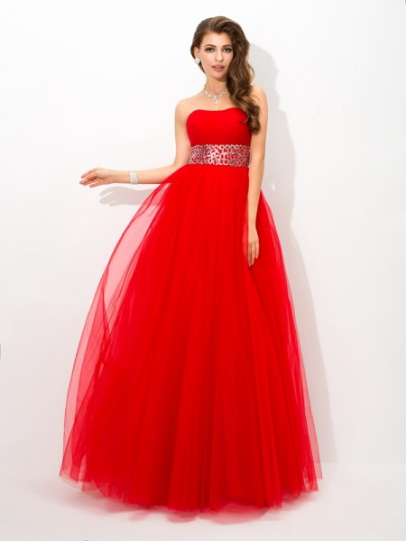 Ball Gown Sleeveless Strapless Floor-Length Beading Net Dresses