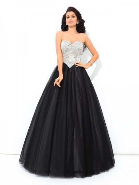Ball Gown Sweetheart Sleeveless Floor-Length Paillette Net Dresses