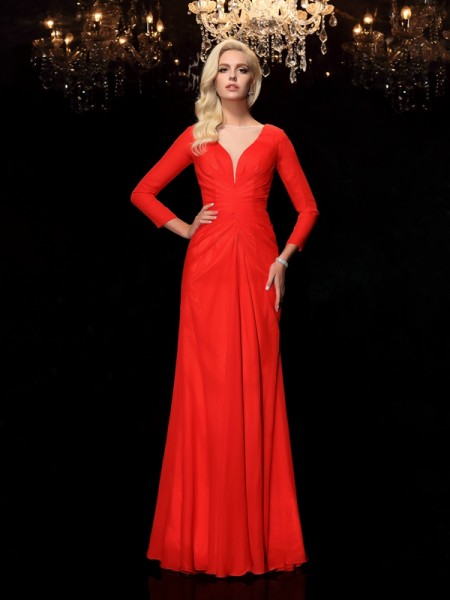Sheath/Column Bateau Long Sleeves Floor-Length Ruched Chiffon Dresses