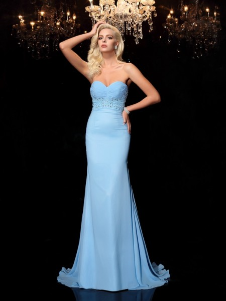 Trumpet/Mermaid Sweetheart Sleeveless Sweep/Brush Train Rhinestone Chiffon Dresses