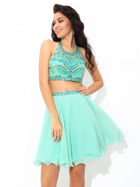 A-Line/Princess Sheer Neck Sleeveless Short/Mini Rhinestone Chiffon Two Piece Dresses