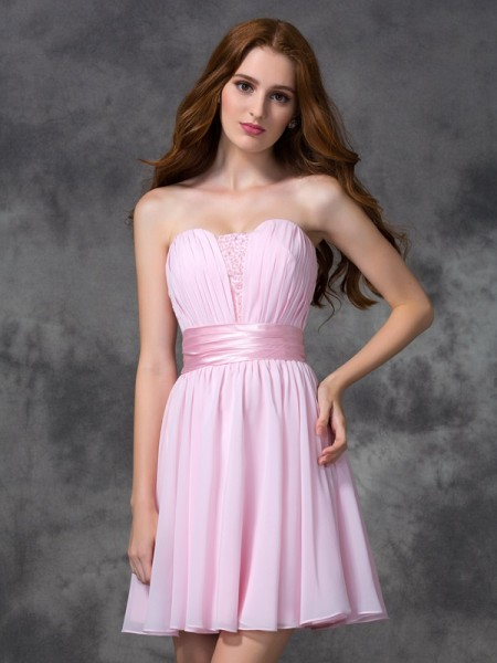 A-Line/Princess Sweetheart Sleeveless Short/Mini Ruched Chiffon Dresses