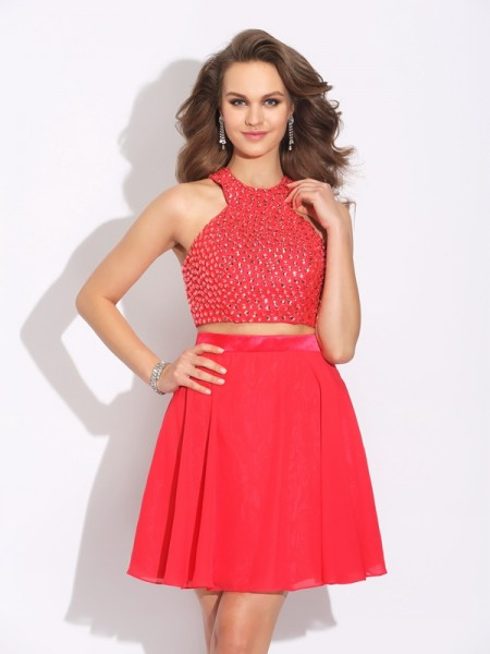 A-Line/Princess Jewel Sleeveless Short/Mini Crystal Chiffon Two Piece Dresses