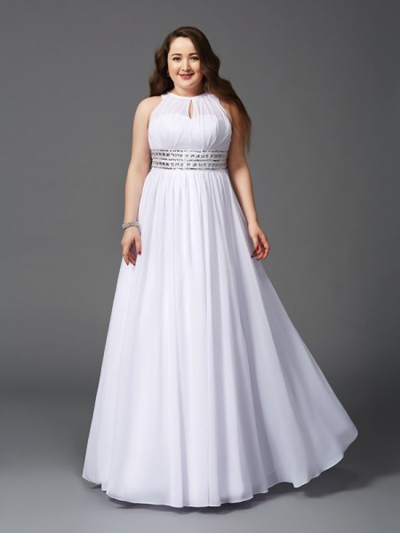 A-Line/Princess Sleeveless Jewel Floor-Length Beading Chiffon Plus Size Dresses