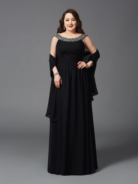 A-Line/Princess Scoop Sleeveless Floor-Length Rhinestone Chiffon Plus Size Dresses