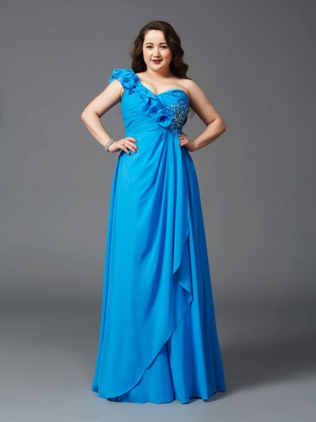 A-Line/Princess Sleeveless One-Shoulder Floor-Length Rhinestone Chiffon Plus Size Dresses