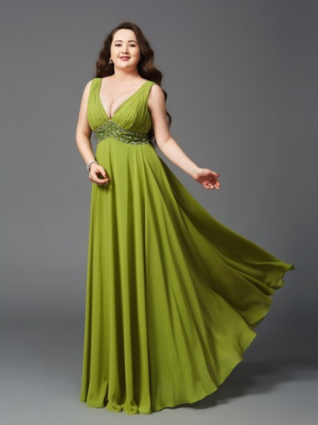 A-Line/Princess Straps Sleeveless Floor-Length Rhinestone Chiffon Plus Size Dresses