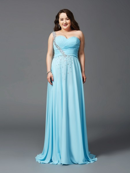 A-Line/Princess Sleeveless One-Shoulder Sweep/Brush Train Rhinestone Chiffon Plus Size Dresses