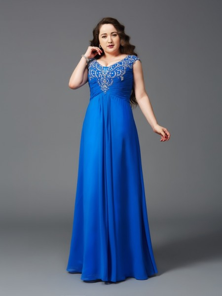 A-Line/Princess Straps Short Sleeves Floor-Length Beading Chiffon Plus Size Dresses