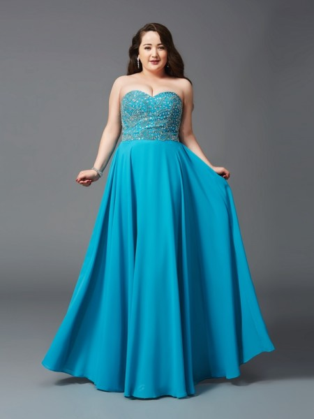 A-Line/Princess Sweetheart Sleeveless Floor-Length Beading Chiffon Plus Size Dresses