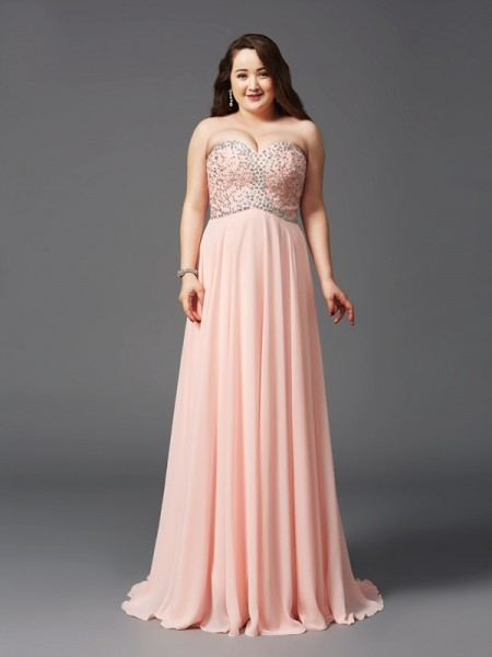 A-Line/Princess Sweetheart Sleeveless Sweep/Brush Train Beading Chiffon Plus Size Dresses