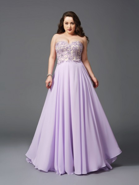 A-Line/Princess Sleeveless Sweetheart Sweep/Brush Train Lace Chiffon Plus Size Dresses