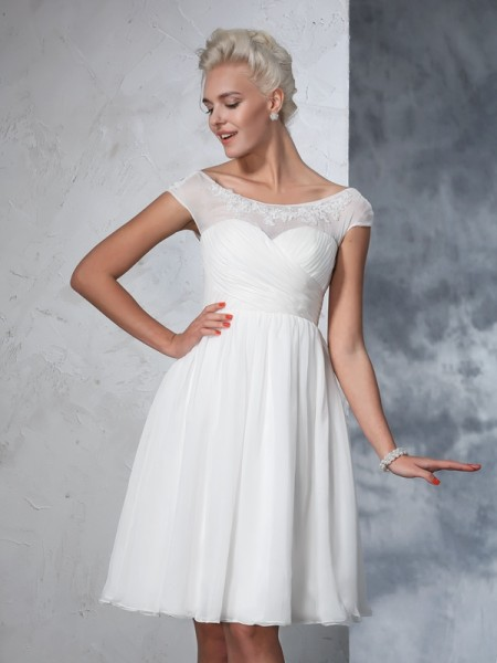 A-Line/Princess Sheer Neck Short Sleeves Knee-Length Ruched Chiffon Wedding Dresses