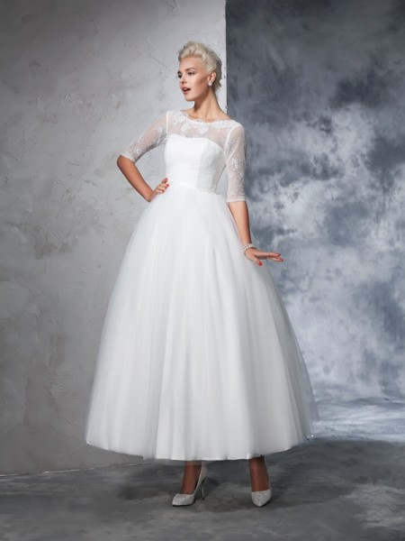 Ball Gown 1/2 Sleeves Bateau Ankle-Length Lace Net Wedding Dresses