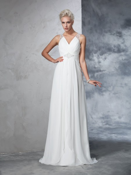 A-Line/Princess V-neck Sleeveless Sweep/Brush Train Ruched Chiffon Wedding Dresses