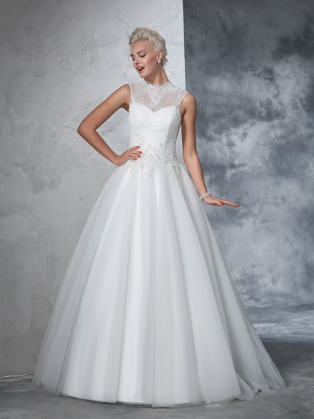 Ball Gown High Neck Sleeveless Floor-Length Applique Net Wedding Dresses