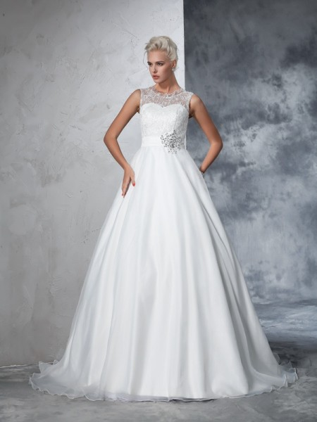 Ball Gown Sleeveless Sheer Neck Chapel Train Lace Net Wedding Dresses