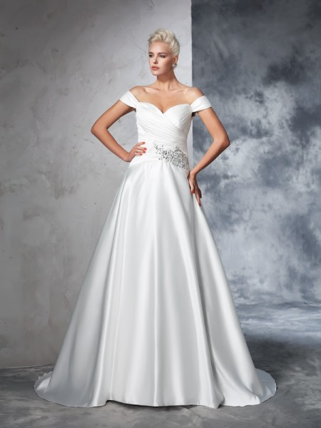 Ball Gown Off-the-Shoulder Sleeveless Chapel Train Ruched Taffeta Wedding Dresses
