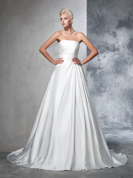 Ball Gown Strapless Sleeveless Chapel Train Ruched Satin Wedding Dresses