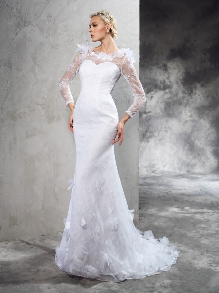 Sheath/Column Sheer Neck Long Sleeves Court Train Hand-Made Flower Satin Wedding Dresses