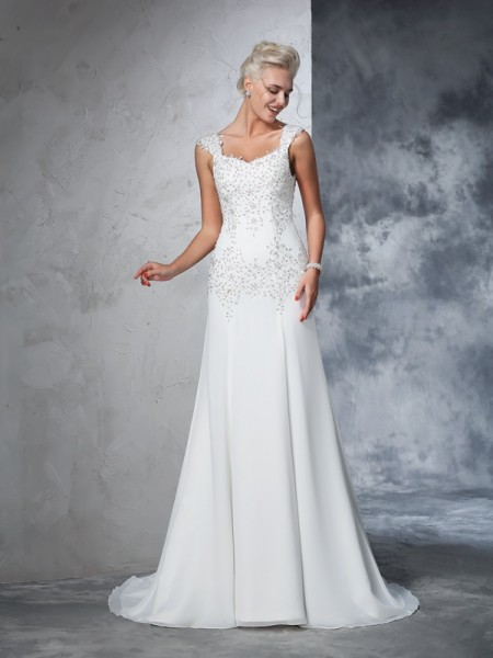 A-Line/Princess Straps Sleeveless Court Train Beading Chiffon Wedding Dresses