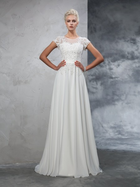 A-Line/Princess Short Sleeves Sheer Neck Sweep/Brush Train Applique Chiffon Wedding Dresses