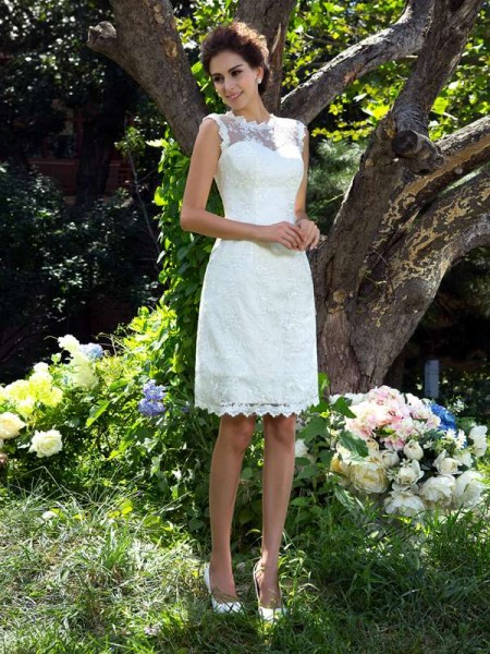 A-Line/Princess Sheer Neck Sleeveless Knee-Length Applique Satin Wedding Dresses