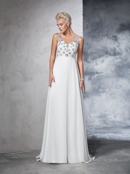 A-Line/Princess Sleeveless V-neck Sweep/Brush Train Beading Chiffon Wedding Dresses