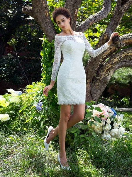Sheath/Column Scoop Long Sleeves Short/Mini Satin Wedding Dresses