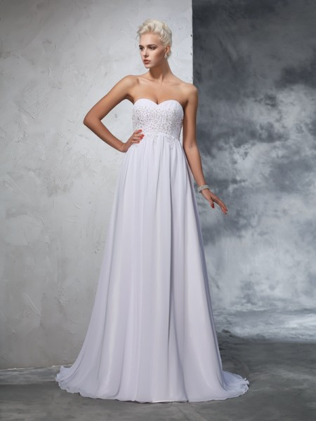 A-Line/Princess Sleeveless Sweetheart Sweep/Brush Train Beading Chiffon Wedding Dresses