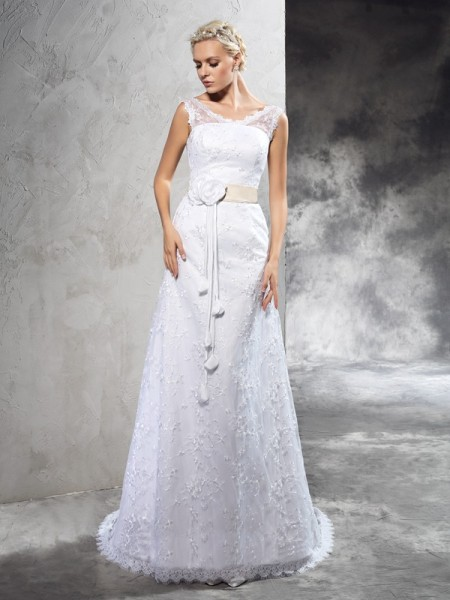 Sheath/Column Sheer Neck Sleeveless Court Train Hand-Made Flower Satin Wedding Dresses