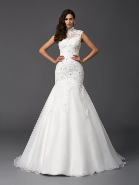 Trumpet/Mermaid Sleeveless High Neck Sweep/Brush Train Beading Organza Wedding Dresses