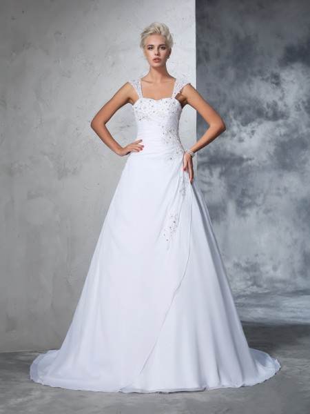 Ball Gown Sleeveless Straps Court Train Applique Chiffon Wedding Dresses