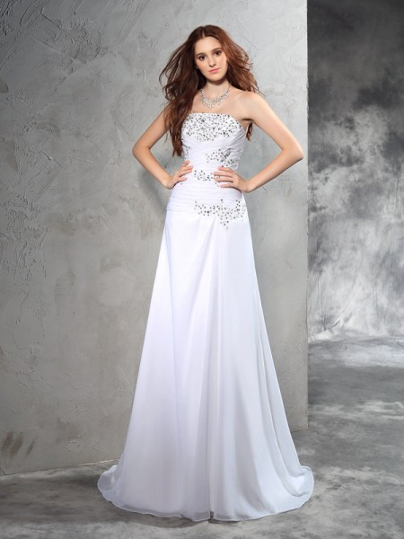 Sheath/Column Sleeveless Strapless Sweep/Brush Train Beading Chiffon Wedding Dresses