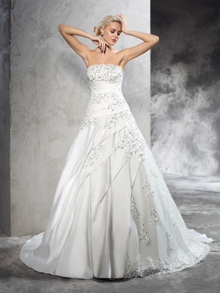 Ball Gown Strapless Sleeveless Court Train Beading Satin Wedding Dresses
