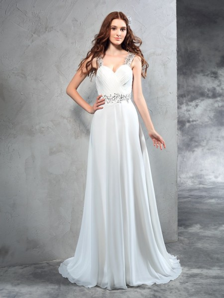 A-Line/Princess Sleeveless Sweetheart Sweep/Brush Train Pleats Chiffon Wedding Dresses