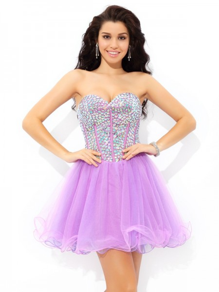 A-Line/Princess Sleeveless Sweetheart Short/Mini Paillette Net Dresses
