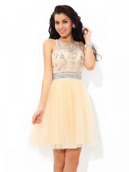 A-Line/Princess Sheer Neck Sleeveless Short/Mini Beading Net Dresses