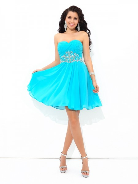 A-Line/Princess Sleeveless Sweetheart Short/Mini Pleats Chiffon Dresses