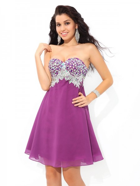 A-Line/Princess Sweetheart Sleeveless Short/Mini Rhinestone Chiffon Dresses