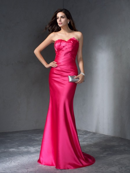 Trumpet/Mermaid Sleeveless Sweetheart Sweep/Brush Train Satin Dresses