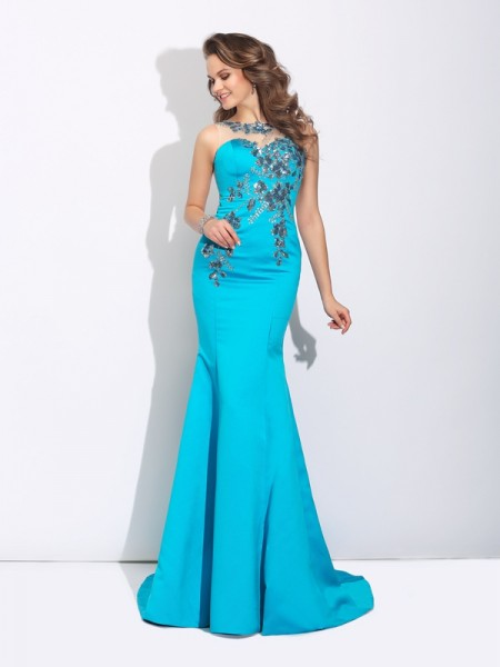 Trumpet/Mermaid Sleeveless Scoop Sweep/Brush Train Applique Satin Dresses