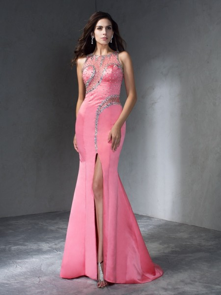 Trumpet/Mermaid Sleeveless Scoop Sweep/Brush Train Beading Satin Dresses