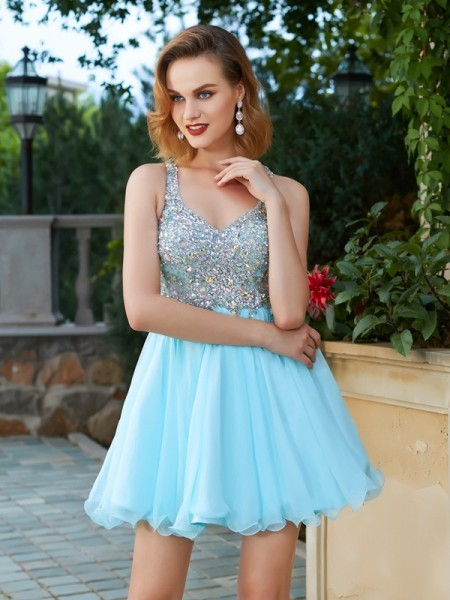 A-Line/Princess Sleeveless Straps Short/Mini Rhinestone Chiffon Dresses