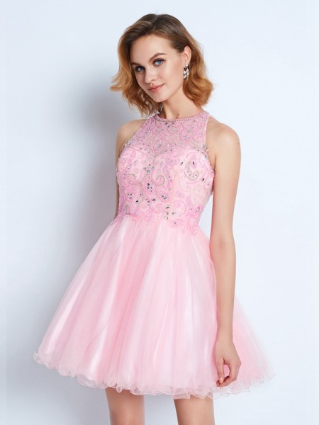 A-Line/Princess Jewel Sleeveless Short/Mini Ruffles Net Dresses