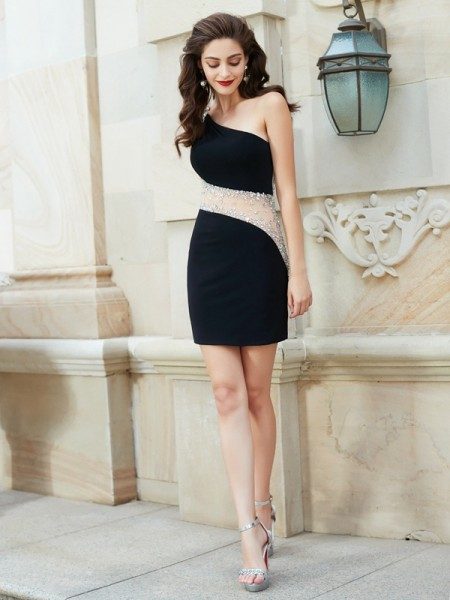 Sheath/Column Sleeveless One-Shoulder Short/Mini Beading Net Dresses